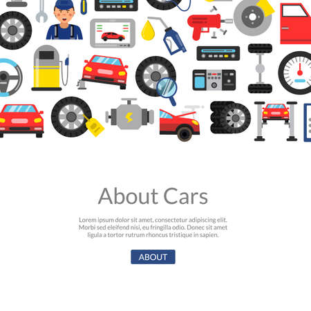 Vector background with flat style car service elements and place for text illustration