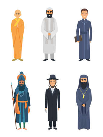 Christian, jewish and other different religion leaders. Judaism, muslim and christianity religious, vector illustration