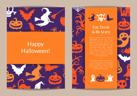 Vector halloween card templates with witches, pumpkins, ghosts, spiders silhouettes with place for text illustration Ilustracje wektorowe