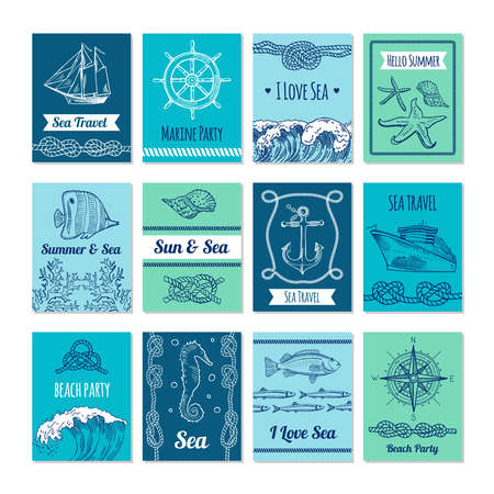 Design template of cards with marine symbols in vector stale. Nautical illustrations with place for your text. Nautical marine card, sea and sun banner