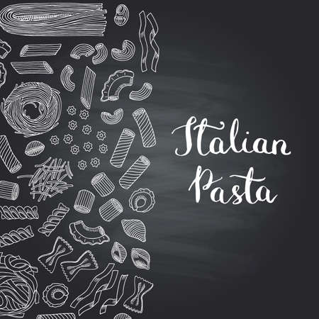 Vector hand drawn contoured pasta types on chalkboard background with lettering illustration