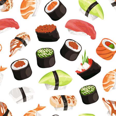 Vector cartoon sushi types pattern background isolated on white illustration