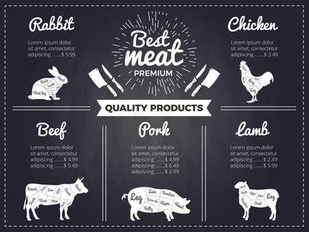 Hand drawn illustrations of domestic animals. Design template of menu for butcher shop. Pictures on black chalkboard. Menu butchery shop, beef scheme, diagram cattle vector Vettoriali