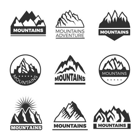 Labels set with different illustrations of mountains. Templates for logos design. Mountain emblem logo, rock hill banner vector Logo