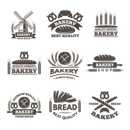 Vintage bakery labels set. Logo template in vector style. Bakery label shopt, badge and emblem bread market illustration