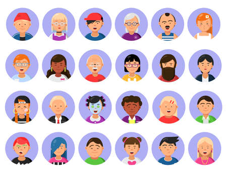 Avatars set of male and female characters in flat style. Vector cartoon head human girl and boy illustration