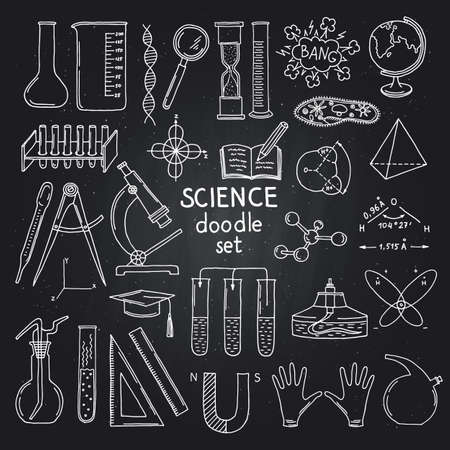 Vector sketched science or chemistry elements on black chalkboard. Illustration of science chemistry on blackboard