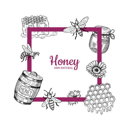 Vector frame with hand drawn honey elements flying around it and place for text illustration