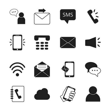 Connections theme. Communication and internet messages symbols. Communication mobile message and chat. Vector speech discussion illustration