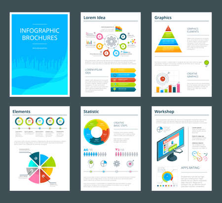 Template of business brochure with infographics. Vector leaflet with report annual charts illustration
