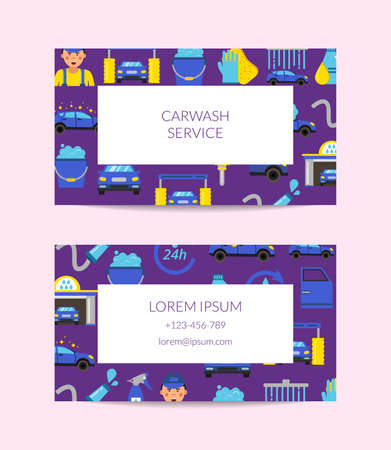Vector business card template for car washing service isolated on white illustration
