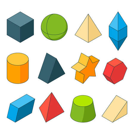 3d model of geometry shapes. Colored pictures sets. Pyramids, stars, cube and others. Pyramid and cube, geometry model cylinder and hexagon illustration