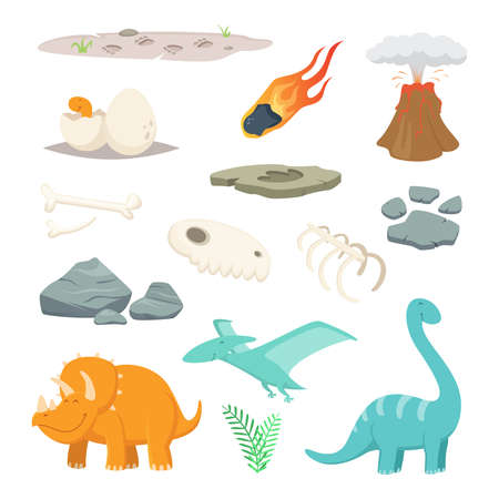 Dinosaurs, stones and other different symbols of prehistoric period. Dinosaur and meteorite stone, prehistoric animall. Vector illustration