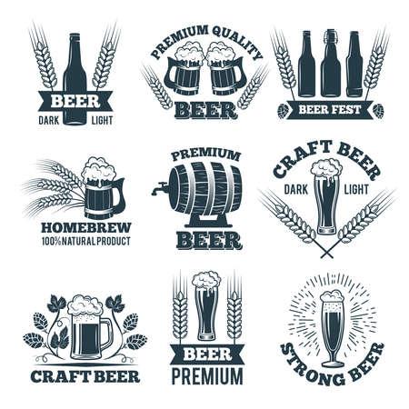 Labels or badges set of beer. Elements for emblem or logo design. Beer badge and label emblem, brewery logotype vector illustration