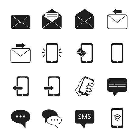 Business icon set of communication symbols. Phone, message bubbles, email signs. Message email and phone, telephone contact, speech bubble. Vector illustration Ilustración de vector