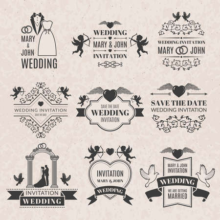 Wedding labels set in victorian style. Monochrome pictures set for badges. Wedding invitation label, ornament classic badge, vector illustration