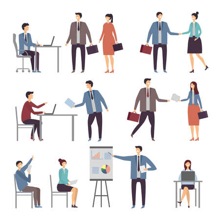 Various scene of active business people in office. Dialogues businessman and worker, person communication illustration