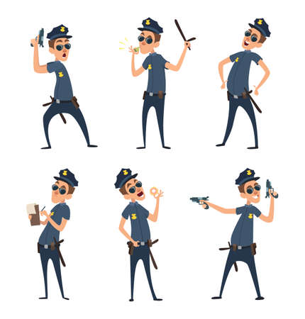 Policemen in different action poses. Security mens in cartoon style. Police security, policeman officer, cop in uniform, vector illustration