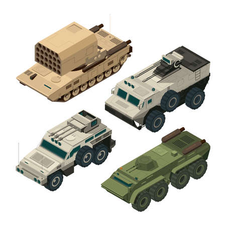 Isometric pictures of army heavy vehicles. Vector pictures set army vehicle, military transport illustration