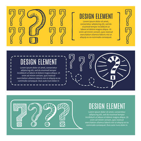 Horizontal banners with concept pictures of question marks and places for your text. Question banner info. Vector illustration Vecteurs