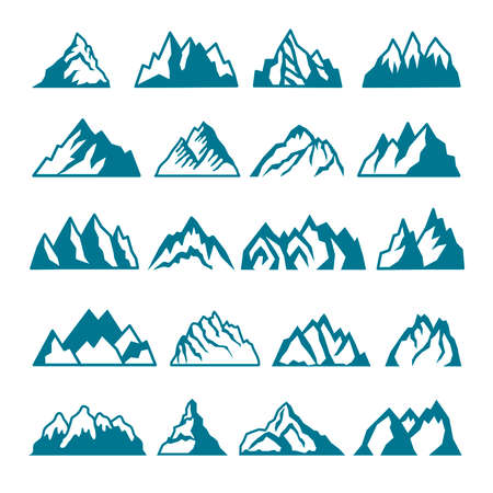 Monochrome pictures set of different mountains. Vector collections for labels design. Mountain rock silhouette, volcano and hill stone illustration Ilustração Vetorial