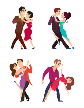 Funny couples dancing latin and foxtrot dance. Male and female characters isolate on white. Male and female dance couple, performance romantic dance together. Vector illustration