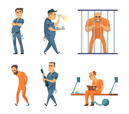 Characters set of guards and prisoners. Vector police security guard and character prisoner person illustration