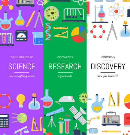 Vector web banner poster templates with flat style science icons illustration