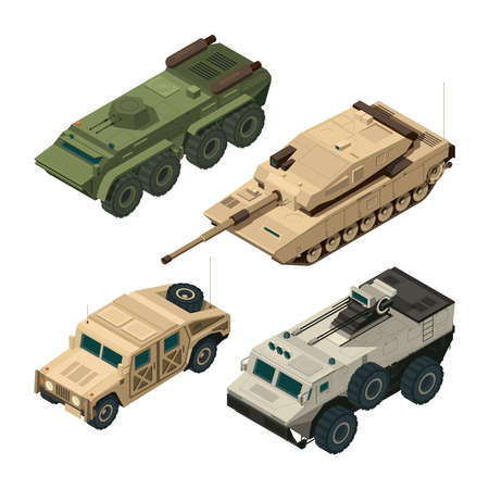 Vector isometric pictures set of different military vehicles isolate on white. Illustration of armored tank and car i with gun