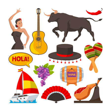Travel pictures of spain cultural objects. Cartoon style illustrations isolate. Vector spanish culture tourism, object guitar wine and food Vektoros illusztráció