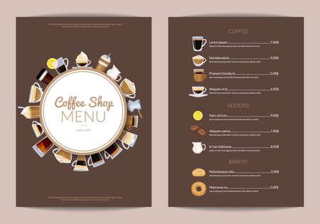 Vector coffee shop vertical menu template. Cafe menu wi drink cup espresso and cappuccino illustration Vector Illustration