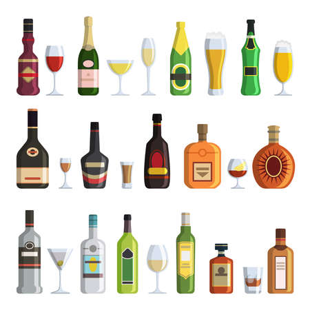 Illustrations of alcoholic bottles and glasses in cartoon style. Vector alcohol bottle wine and champagne, beverage whiskey and martini