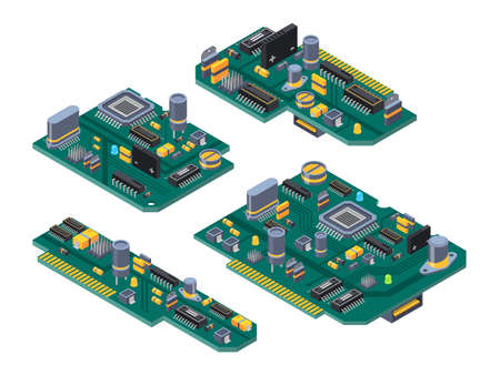 Different computer boards with semiconductors, capacitor and chips. Motherboard electronic circuit, microchip and semiconductor. Vector illustration