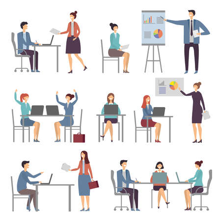 Stylized business characters. Different dialogs of office people. Presentation business chart, colleague work and talk. Vector illustration