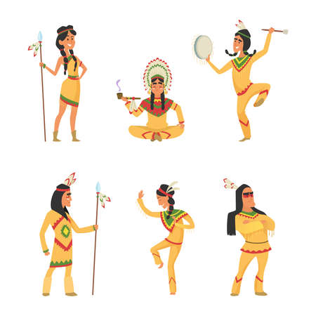 Native american indians. Cartoon characters set in vector style. Illustration of indian traditional with feather and ethnic costume