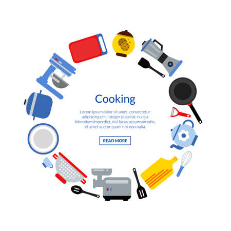 Vector flat style kitchen utensils in circle form with place for text in center round illustration