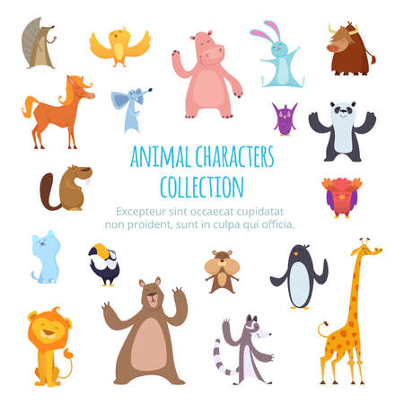 Vector background pictures with different cartoon animals. Wild exotic giraffe and bear, bull and horse illustration Vector Illustratie