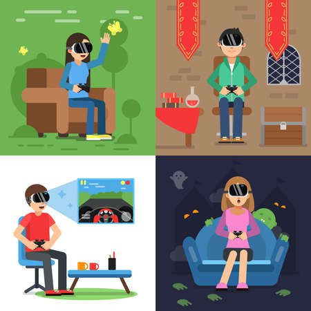 Different concept pictures of funny people in helmet of vr playing in games. Vector virtual reality device headset, helmet for game vr illustration
