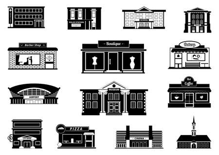 Shops, markets and others municipal buildings. Monochrome urban vector illustrations. Building shop and market, store and bakery
