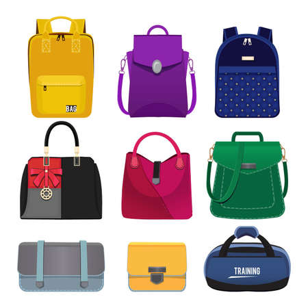 Cartoon illustrations of women handbags. Fashion pictures set isolate. Vector handbag fashion, leather accessory lady