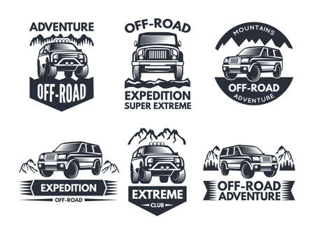 Off road symbols. Labels with 4x4 truck. Logos or labels with suv cars. Automobile car logo, transport for travel emblem off-road. Vector illustration Logo