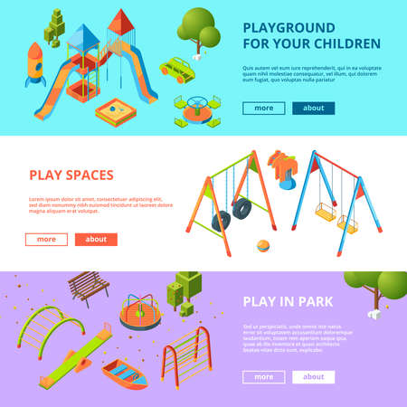Horizontal banners set with isometric illustrations of kids playground. Design kids game and amusement vector