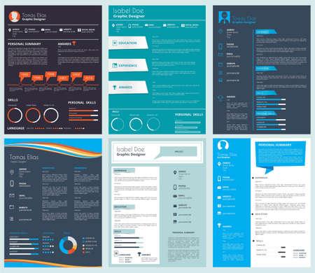 Vector design template of business CV, curriculum vitae. Illustration of resume document set