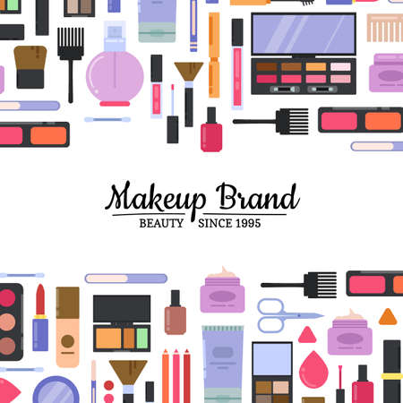 Vector flat style makeup and skincare background with place for text illustration