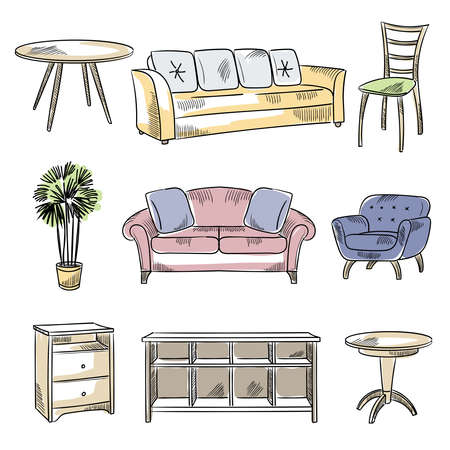 Drawn furniture. Technical sketches of chairs beds wardrobe recent vector isolated objects for design interior rooms Ilustracje wektorowe