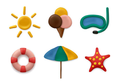 Plasticine modeling summer objects. Clay artwork sea or marine sun objects fishes palm tree kids sculpt education decent vector realistic collection