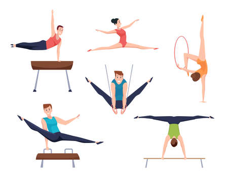 Gymnasts. Athletes characters acrobatic moves fitness training gymnastic elements for woman and man exact vector sport people Векторная Иллюстрация