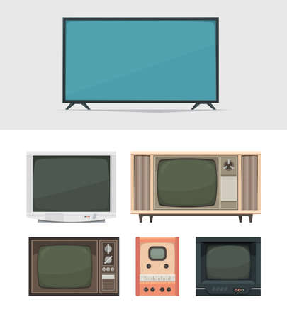 Tv set. Retro and modern digital tv for news movies and broadcasts old filming gadgets garish vector illustrations collection