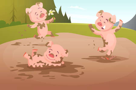 Kids pigs playing in dirty puddle