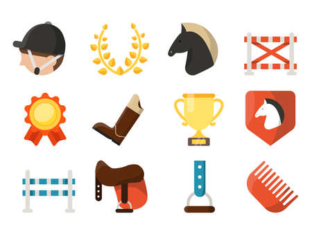 Equestrian sport icon set isolate on white background